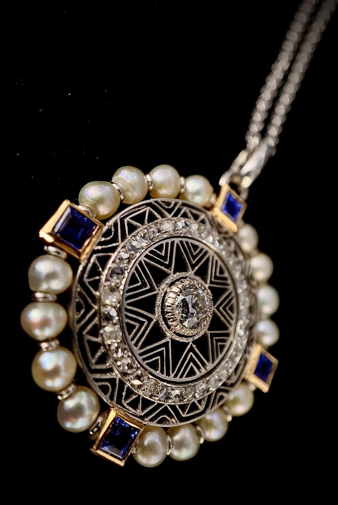 Pendentif saphirs et perles